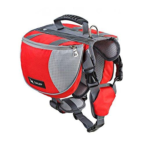 ABSK Pet Dog Pack Bag Adjustable Vest Harness Hound Hiking Gear Backpack Saddlebag Outdoor Camping Travel Accessories - RED M by ABSK