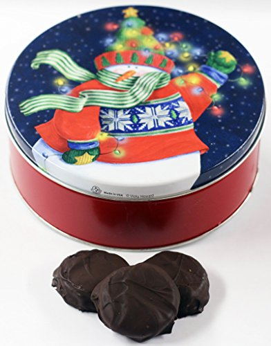Scott's Cakes Dark Chocolate Covered Cool Mint Oreos in a Small Holiday Lites Tin ()