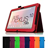FINTIE (Red) Slim Fit Leather Folio Stand Case Cover Auto Sleep/Wake for Google Nexus 10 Inch Android Tablet- 8 Color Options
