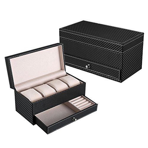 Goldwheat Double Layer Watch Box PU Leather Watch Case Gift for Men and Women,4 Slots Magnetic Top Watch Display Case Organizer Travel Jewelry Box with Valet Drawer in Black--8.7 x 4.2x 4.3 inch