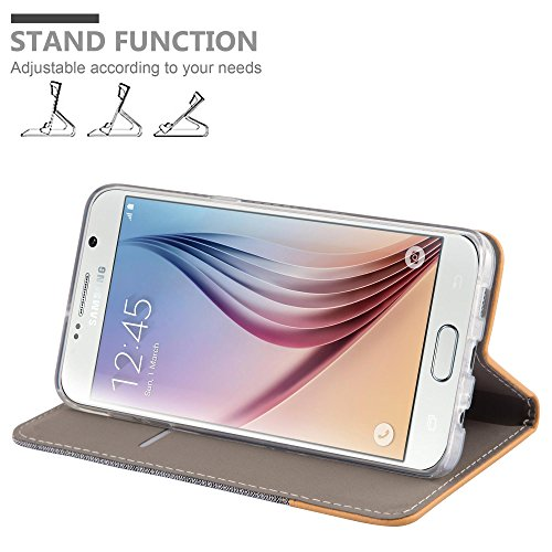 Cadorabo - Funda Estilo Book para >                                          Samsung Galaxy S6 PLUS                                          < de Diseño Tela / Cuero Arificial con Tarjetero, Función de Soporte y Cierre Magnético Invisible