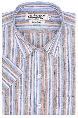 Arihant Men's Striped Half Sleeves Reguler Fit Cotton Linen