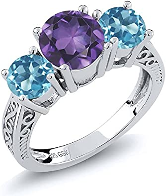 Amethyst yellow gold filled and sterling silver rings. Blue Green Aqumarine
