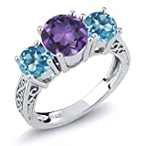 2.10 Ct Round Purple Amethyst Swiss Blue Topaz Gemstone Birthstone 925 Sterling Silver 3-Stone Women's Engagement Ring (Available in size 5, 6, 7, 8, 9)
