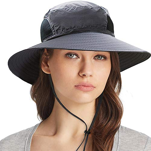 Sun Protection Cowboy (Ordenado Waterproof Sun Hat Outdoor UV Protection Bucket Mesh Boonie Hat Adjustable Fishing Cap Dark Grey)