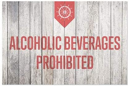 Nautical Wood Window Cling 36x24 Alcoholic Beverages Prohibited CGSignLab