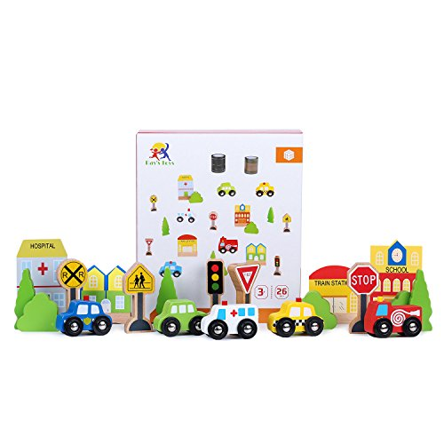 Transportation & Sign Playset For Kids By Ray's Toys | Beautiful & Colorful Small Cars, Signs, Trees & Buildings With 2 Types of Road Tapes, Safe Paint | Educational & - Sign Ray