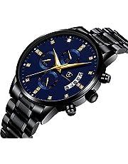 Mens Black Watch Fashion Luxury Business Analog Quartz Stainless Steel Watch Multifunction Chronograph Calendar Date Waterproof Dress Wrist Watch Blue