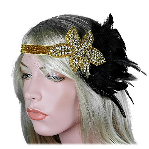 1920s Flapper Headband 20s Great Gatsby Headpiece Black Feather Gold Gatsby Hair Accessories Rhinestones Crystal Halloween