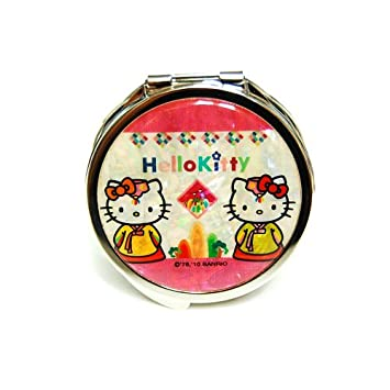 3bd3cfc66 Amazon.com: Mother of Pearl Hello Kitty Korean Traditional Costume Hanbok  Design Yellow Double Compact Magnifying Purse Mirror: Beauty