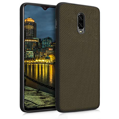 kwmobile Case for OnePlus 6T - Durable Heavy Duty Nylon Back Case Shockproof Protective Cover - Olive Green