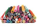 Bundle Monster 50 PC 3D Designs Nail Art Nailart Manicure Fimo Canes Sticks Rods Stickers Gel Tips