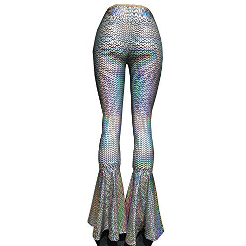 High 2 Musical School Costumes (Pinda Iridescent Rainbow Rave Burning Man Costumes Boho Hippie Holographic High Waisted Wide Leg Long Yoga Bell Bottom Pants Leggings(M, 375TE))