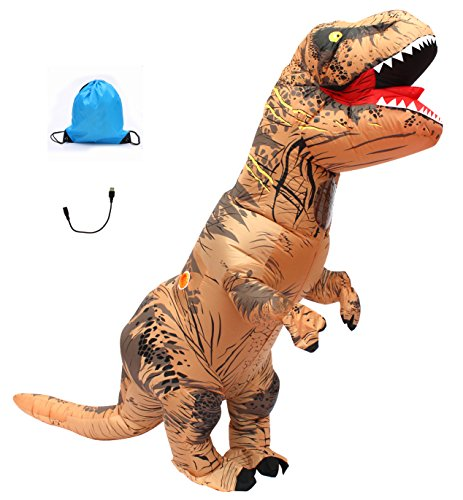 Adult Trex Costumes (Seasonblow Adult Inflatable T-rex Dinosaur Halloween Suit Cosplay Fantasy Costume Brown with Backpack USB Wire)