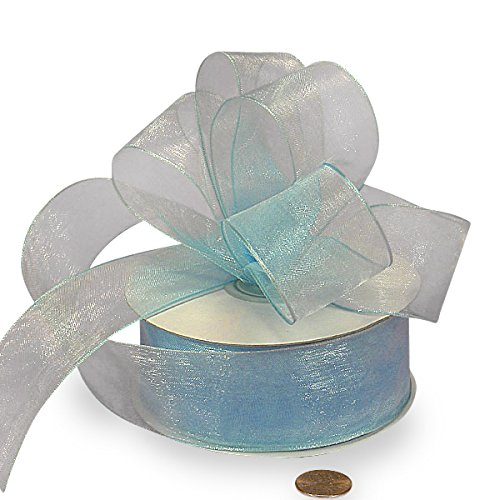 Light Blue Sheer Organza Wired Ribbon 1 1/2