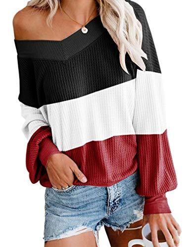 ETCYY Women's Off Shoulder Sweater Colorblock Batwing Sleeve LooseOversized Knit Pullover Tops Black