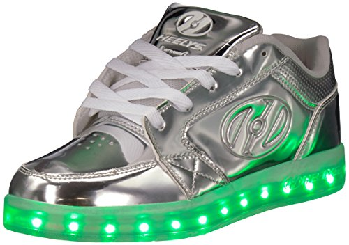 Heelys Girls' Premium Lo Wheeled Heel Shoe,Silver Chrome,1 M US Little Kid ()