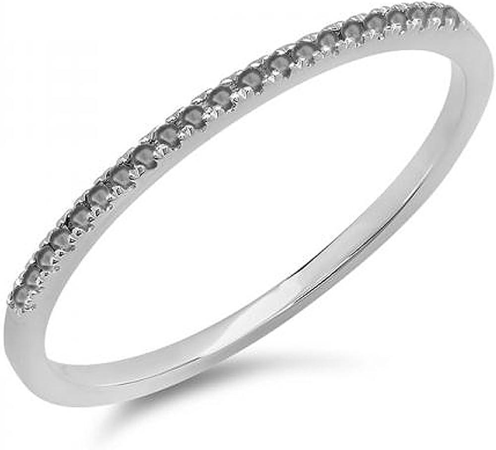 Dazzlingrock Collection 0.08 Carat (ctw) 10k Round Black Diamond Ladies Dainty Anniversary Wedding Band Stackable Ring, White Gold