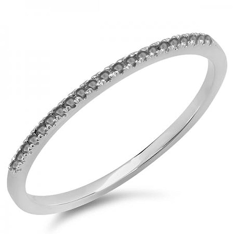 0.08 Carat (ctw) 10k White Gold Round Black Diamond Ladies Dainty Anniversary Wedding Band Stackable Ring