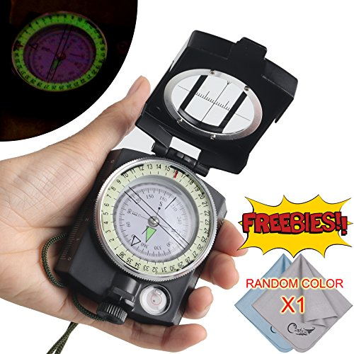 COSTIN Multifunctional Compass, All Metal Military Waterproof High Accuracy Compass with Sighting Clinometer for Outdoor Activities, Matte Black by COSTIN