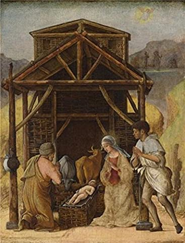 The Perfect Effect Canvas Of Oil Painting 'Ercole De' Roberti-The Adoration Of The Shepherds,1490' ,size: 30x39 Inch / 76x100 Cm ,this High Resolution Art Decorative Prints On Canvas Is Fit For Wall Art Decor And Home Decoration And - Aqua Stripe Wall Sconce