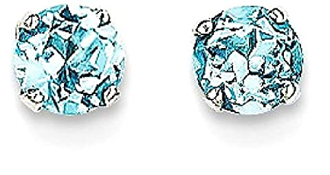 IceCarats 14k White Gold 4mm Blue Topaz Stud Ball Button Earrings Birthstone December Prong - Topaz Button