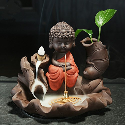 - Tongyou Lotus Backflow Incense Burner Little Monk Ceramic Purple-grit Color Clay Buddha Buddhism Censer with Cone Incense and Gourd Incense Holder