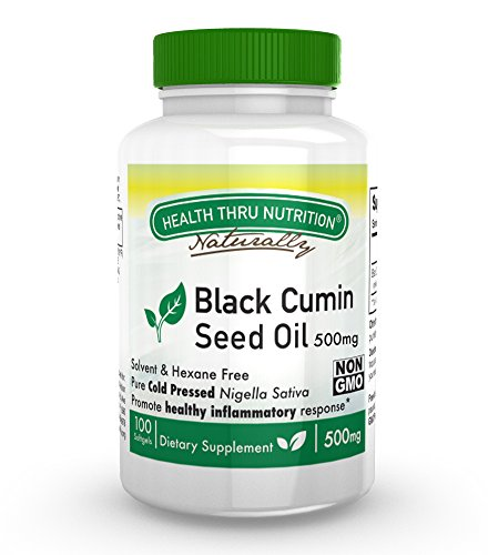 (Health Thru Nutrition Black Cumin Seed Oil Non-GMO 500Mg Softgels First Cold Pressed, 100 Count)