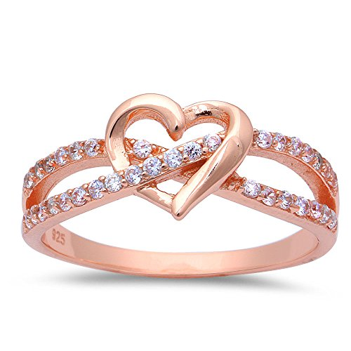 ROSE GOLD PLATED INFINITY LOVE KNOT HEART Cubic Zirconia Sterling Silver Promise Ring - Heart Promise Created Diamond Ring