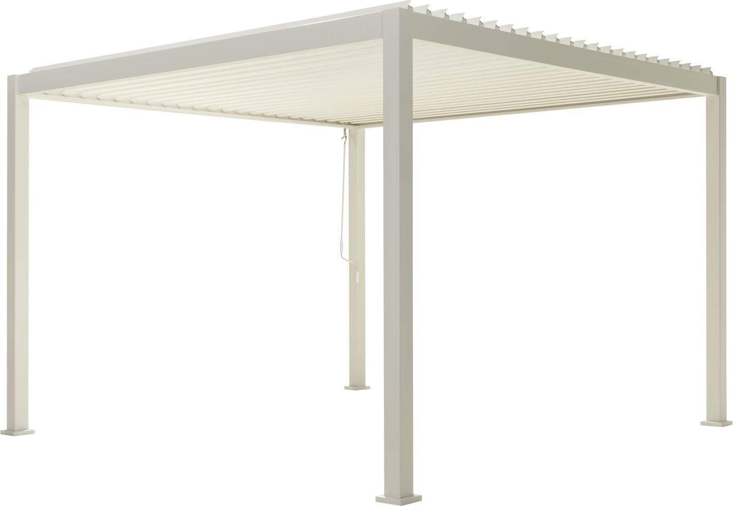 SORARA Mirador Pergola – Cubierta con láminas abatibles – Blanco – 3,6 x 3,6 m