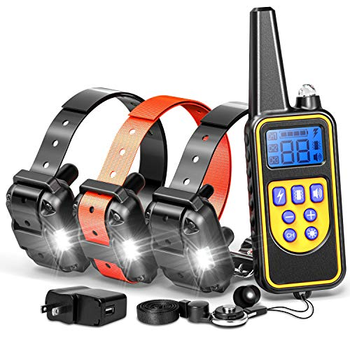 F-color Dog Training Collar, Rechargeable Waterproof Dog Shock Collar 2600ft Remote Range Dog Trainer Collar with Beep Vibrating Shock for Medium Large Dogs, Electronic Dog Training ()