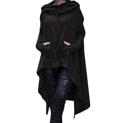 Cian para mujer túnica de alta baja Sudaderas Vestido String sudadera con capucha con bolsillo (