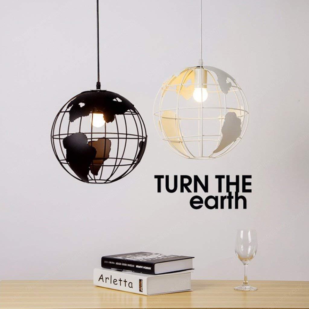 Vampsky Lampe suspension 28cm noir//blanc /éclairage int/érieur Industriel pendentif vintage lampes globe cr/éatif terre fer cage r/étro lustre plafond pour restaurant bar salle /à manger luminaire