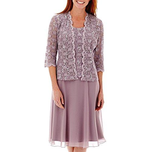 R&M Richards Women's Lace Pop Over Jacket Dress, Orchid, 10