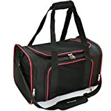 Mr. Peanut's Airline Approved Soft Sided Pet Carrier, 17.5X11X11 Travel Tote with Soft Padded Bedding With Strong 1/4'' Wood Base, Seatbelt & Luggage Attachment, Perfect for Cats and Small Dogs