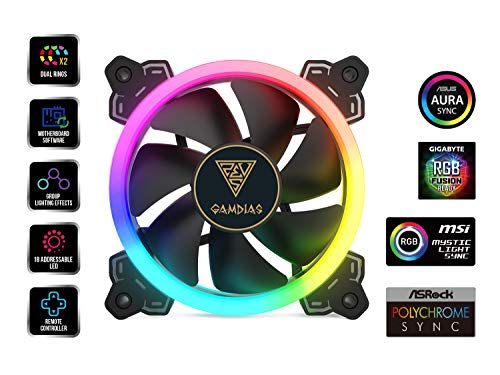 GAMDIAS RGB Case Fan 120mm Dual Light Loop Motherboard Sync with Remote Control Color - Four Fan Pack Cooling Aeolus M1-1204R by GAMDIAS (Image #1)