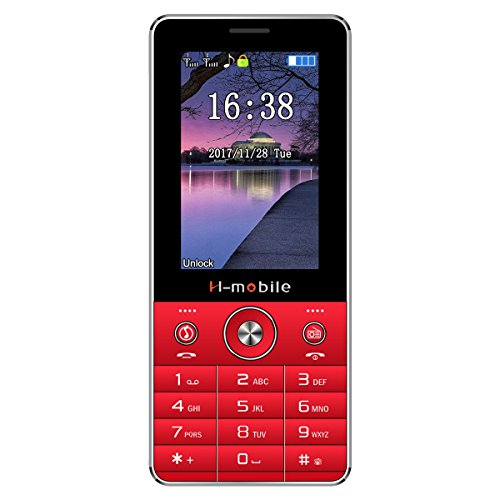 "Padcod R-3 Unlocked GSM Cellphones for Seniors, Dual SIM Dual Slot budget phone, 2.8"" Display for Old People (Red) (Mobile Old Phone Boost)"