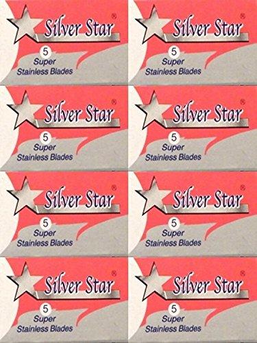 40 Silver Star Super Stainless Steel Double Edge Razor Blades