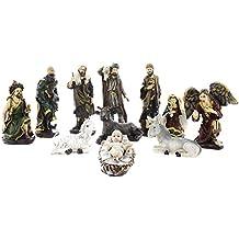 Juvale 11 Piece Nativity Set - Hand-Painted Nativity Figurines - Christmas Nativity Scene - Holy Family Figurines with Baby Jesus Nativity Figures