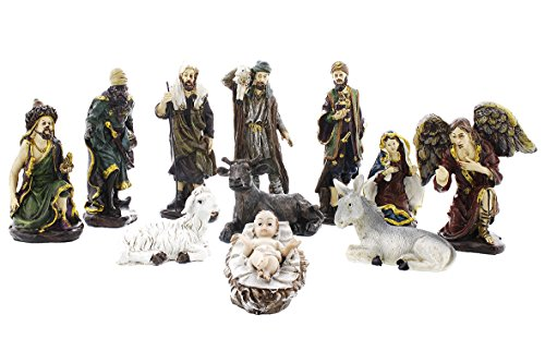 Juvale 11-Piece Nativity Miniature Set - Hand-Painted Nativity Figurines Decor Christian Holiday Gifts - Christmas Nativity Scene - Holy Family Figurines with Baby Jesus Nativity Figures Art Crafts (Nativity Stable Small)