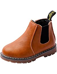 PPXID Boy's Girl's Baby's British Waterproof Plush Inside Snow Boots Casual Ankle Boots