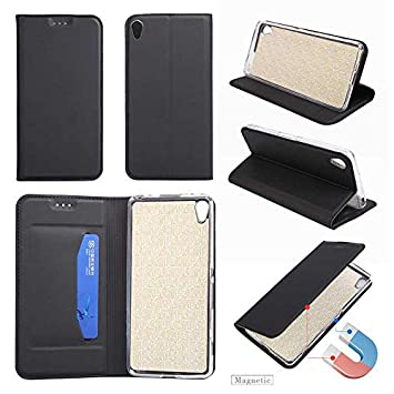 Bear Village Premium PU Leather Cover TPU Bumper with Card Holder Magnetic Shockproof Flip Wallet Case for Sony Xperia XA #6 Black Case Sony Xperia XA