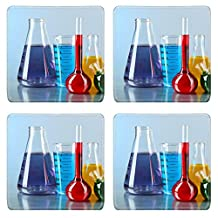 MSD Natural Rubber Square Coasters IMAGE ID: 34955256 Different laboratory glassware with colorful liquid on color background