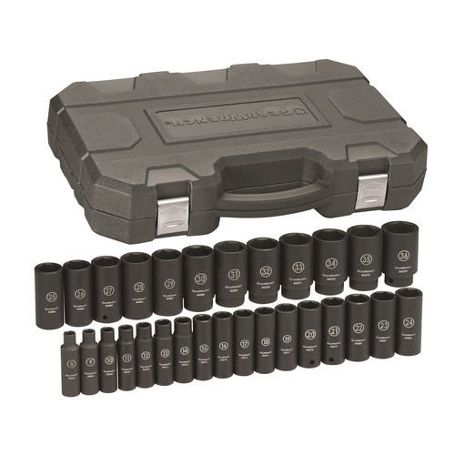 GearWrench 84935N 1/2'' Drive Deep Metric Impact Socket Set (29 Piece) by GearWrench