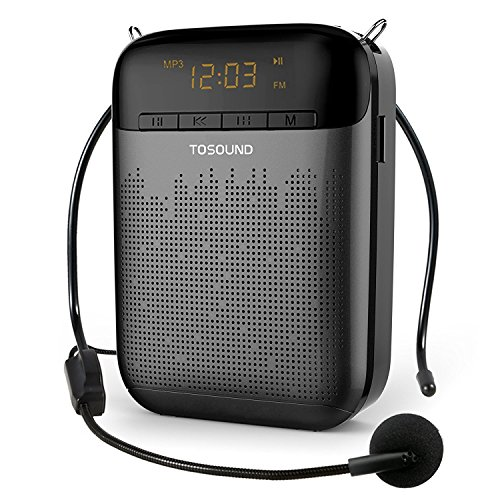 TOSOUND M10 13W Portable Voice Amplifier, Lightweight and Rechargeable Loudspeaker with LED Display, Built in Stereo Radio, For Teachers, Kindergartner, Tour Guides, Coaches and More