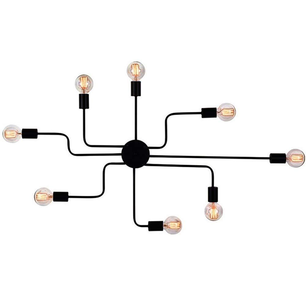Yalztc-zyq16 工業用レトロスタイル220 v半埋め込み天井灯金属吊りランプインテリア、黒シャンデリア現代金属クモライト B07Q56675G