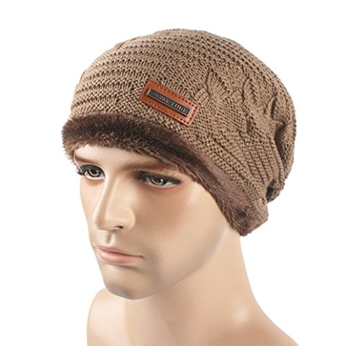 PHOTNO Men Women Baggy Warm Crochet Winter Wool Knit Ski Beanie Skull Slouchy Caps Hat (Two Tone Bustier)