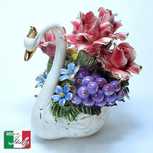 イタリア製 バラ 陶花 スワン 薔薇 と 白鳥 陶器 ハンドメイド オブジェ ローズ アレンジメント cog-852 B01JYRD9PM
