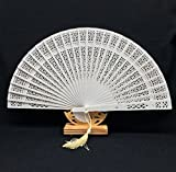 White Sandalwood Folding Hollow Carved Dyed Hand Fan Wedding Accessories Decoration Party Favors