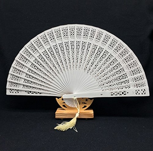 White Sandalwood Folding Hollow Carved Dyed Hand Fan Wedding Accessories Decoration Party Favors by Hand Fan